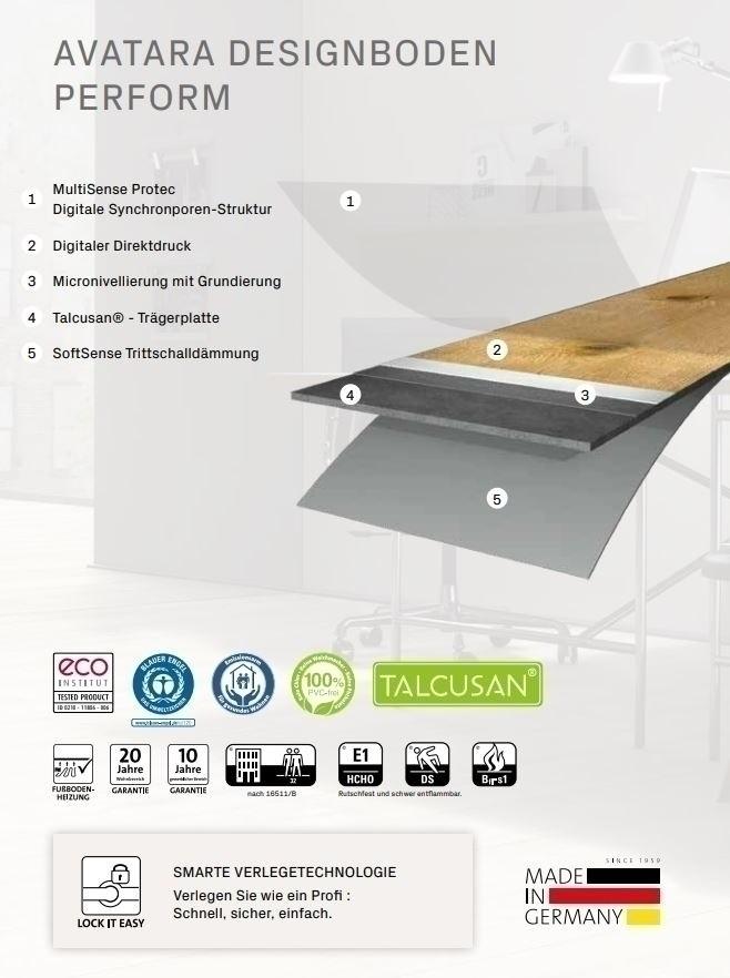 ter Hürne Avatara 3.0 Perform 2742 Eiche Tempra 6 mm Bio-Designboden MultiSens Protec Klicksystem