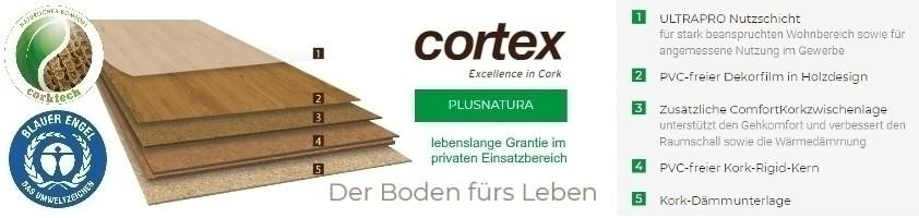 Cortex Plusnatura Ultra Pro Feldeiche Kork-Rigid Klick-Designboden Blauer Engel
