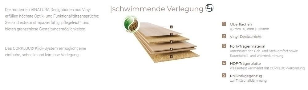 Cortex Vinatura Vinyl Parkett Bassanoeiche Designboden auf HDF-Klicksystem