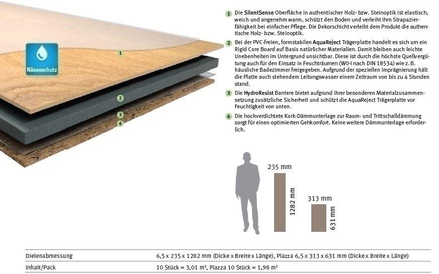 HARO DISANO SmartAqua Rigid-Klick-Boden LA 4VM Eiche Cambridge strukturiert Designboden Blauer Engel