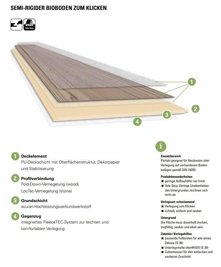 Wineo 1200 stone XL Click Purline Bioboden Introducing Otto Rigid Designboden mit Klicksystem mit Microfase