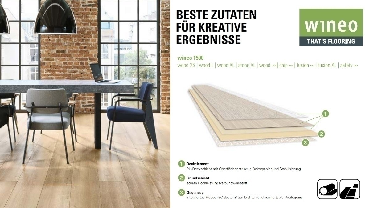Wineo 1500 Wood L Purline PUR Bioboden Golden Pine Mixed Planken zur Verklebung