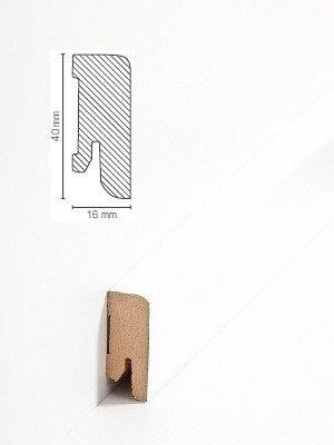 Südbrock Sockelleiste weiß Fußleiste, MDF-Kern mit Dekorfolie ummantelt 16 x 40 mm