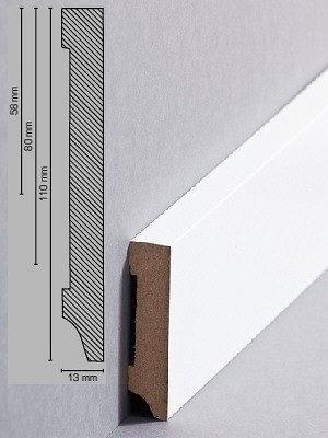 Südbrock Sockelleiste weiß Fußleiste, MDF-Kern mit Folie ummantelt 13 x 58 mm