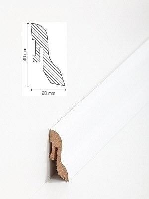 Südbrock Sockelleiste weiß Fußleiste, MDF-Kern mit Dekorfolie ummantelt 20 x 40 mm