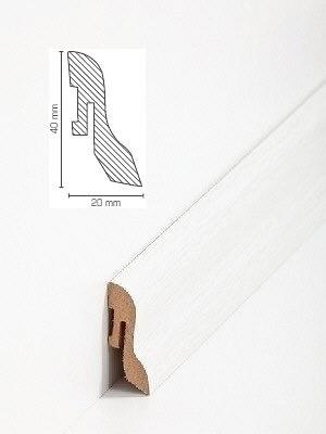 Südbrock Sockelleiste Weisseiche Fußleiste, MDF-Kern mit Dekorfolie ummantelt 20 x 40 mm