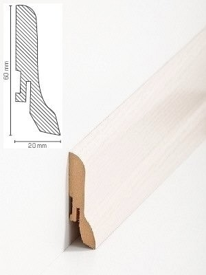 Südbrock Sockelleiste Esche hell Fußleiste, MDF-Kern mit Dekorfolie ummantelt 20 x 60 mm