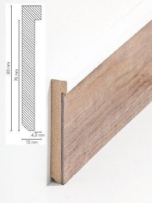 Südbrock Sockelleiste weiß Sockelleiste-Kern mit Dekorfolie für Designboden 13 x 86 mm