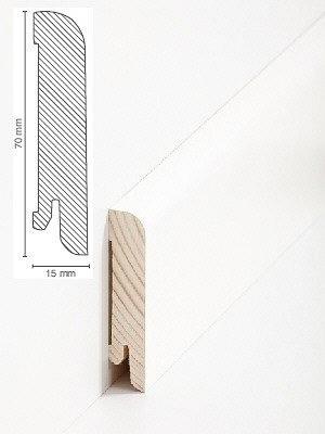 Südbrock Sockelleiste Holzkern decked weiß mit Echtholz furniert 15 x 70 mm