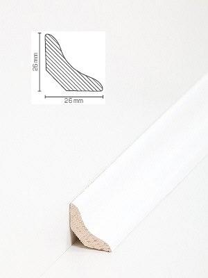 Südbrock Sockelleiste Holzkern Esche weiß lackiert Hohlkehlleiste mit Echtholz furniert 26 x 26 mm