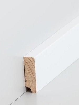 Südbrock Sockelleiste Massivholz Kiefer weiß, Oberkante rechteckig