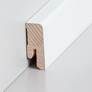 Südbrock Sockelleiste Holzkern decked weiß lackiert mit Echtholz furniert 16 x 40 mm