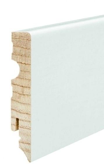 Haro Sockelleiste weiß Parkett Echtholz Fußbodenleiste 80 x 15 x 2400 mm