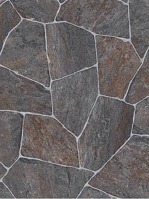 Profi Messe-Boden Stone Grip CV-Belag Bruchstein grau PVC-Boden rutschhemmend R10