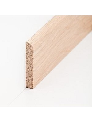 Südbrock Sockelleiste Massivholz Eiche roh Massivholz Holz-Fussleiste, Oberkante abgerundet