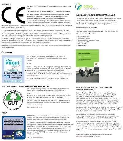 Fabromont Kugelgarn Teppichboden für Büro und Objekt Zertifikate