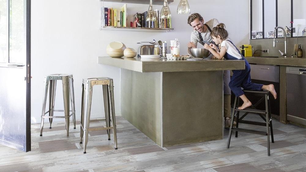 Gerflor Senso Klebedielen Patchwork Grey Bodenbelag Küche