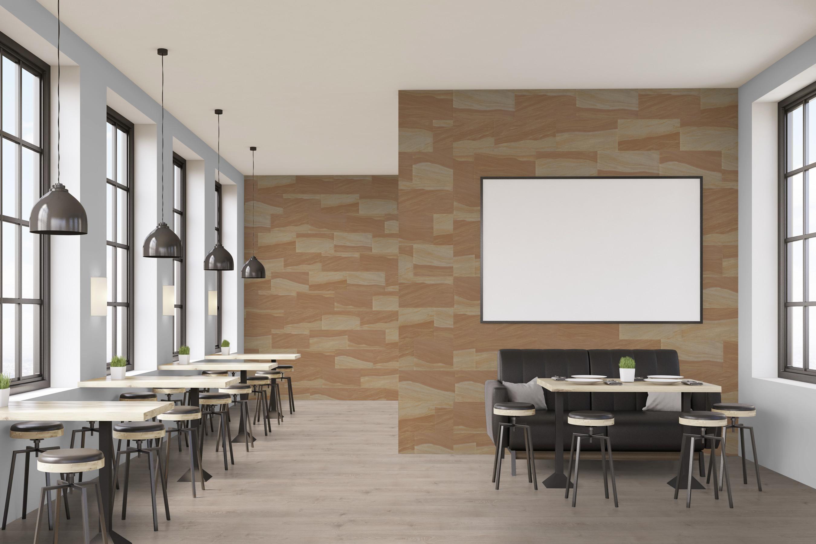 Wandbeläge aus echtem Sandstein hier als Fliesen für Ladenbau und Objekte, auch Fassaden